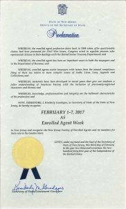 Enrolled Agent Week 2017 Proclamation by the Secretary of State